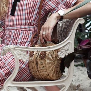 South Beach Exclusive round straw bag with strap